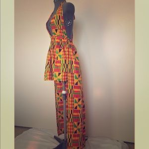 Dresses & Skirts - 'ASHANTI' Kente Deep V Neck High Low Dress